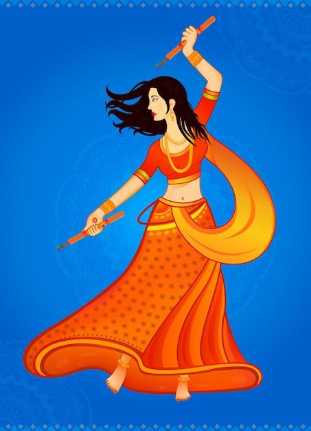 Mujer india jugando a garba en navratri Vector Premium