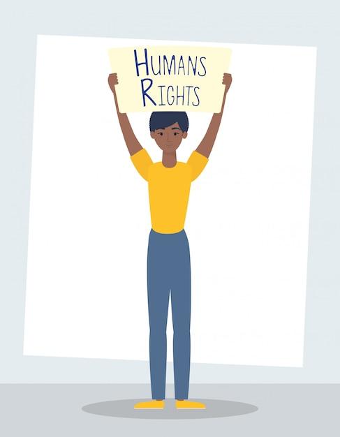 Mujer joven afro con diseño de ilustración de vector de personaje de etiqueta de derechos humanos vector gratuito