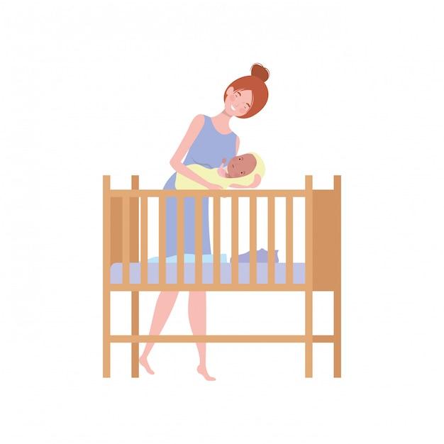Mujer joven con bebé recién nacido Vector Premium