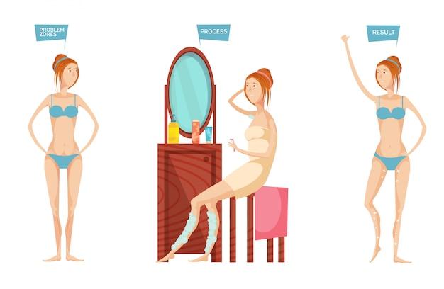 Mujer joven delante del espejo antes y después de la depilación o depilación aislada sobre fondo blanco plano vector gratuito