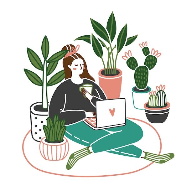 Mujer joven linda que se sienta en el piso con un ordenador portátil en casa con las plantas que crecen en potes. trabajar o relajarse. ilustración vectorial de dibujos animados Vector Premium