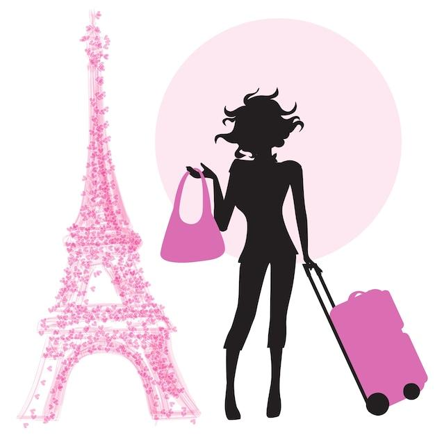 Mujer joven con maleta en parís vector gratuito