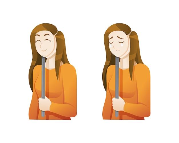 Mujer joven con una máscara de expresión Vector Premium