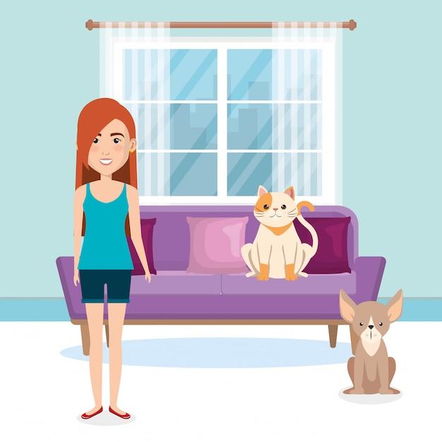 Mujer joven con mascota en la casa vector gratuito