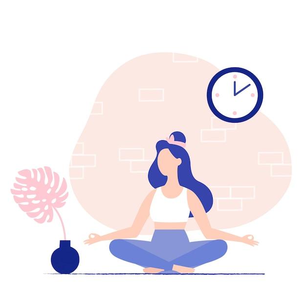 Mujer joven meditando en casa. postura de meditación. vector ilustración plana. Vector Premium
