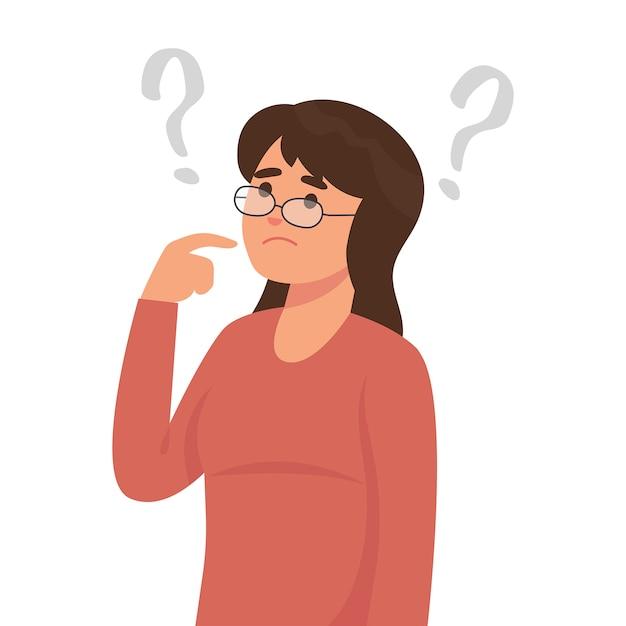 Mujer joven está pensando con muchas preguntas. Vector Premium