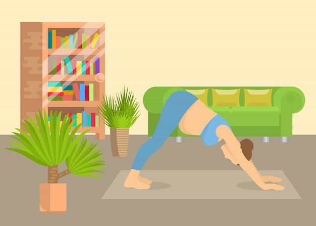 Mujer joven en postura de yoga en casa sala de estar ilustración vectorial interior. chica realizando ejercicios aeróbicos y meditación matutina. práctica de yoga física y espiritual. Vector Premium