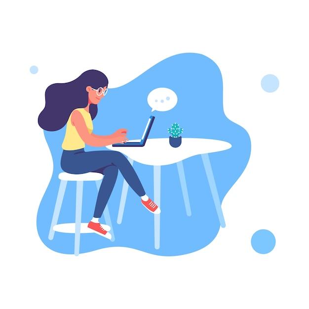 Mujer joven que trabaja en la ilustración de la computadora portátil Vector Premium