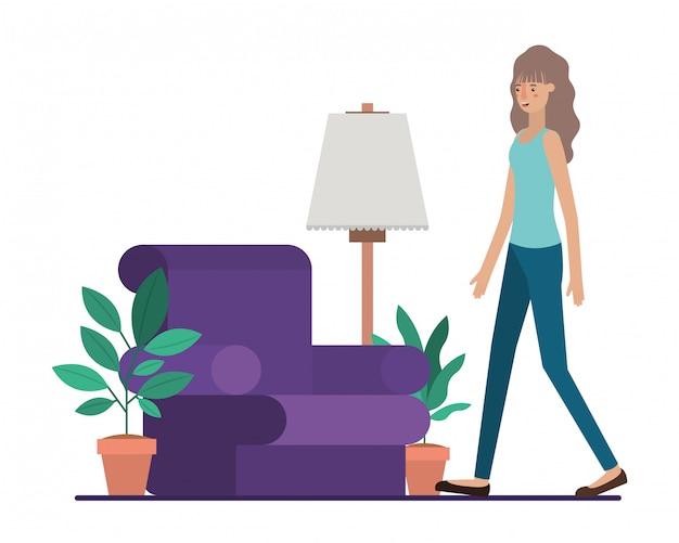Mujer joven en la sala de estar avatar personaje vector ilustración diseño Vector Premium