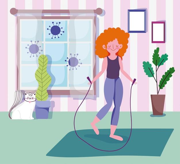 Mujer joven con saltar la cuerda en la habitación con ventana, actividad deporte ejercicio en casa covid 19 pandemia Vector Premium