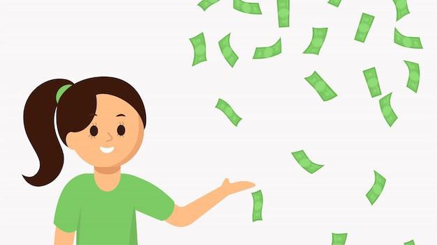 Mujer joven sonriente que señala el dinero que cae Vector Premium