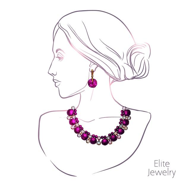 Mujer y joyas vector gratuito