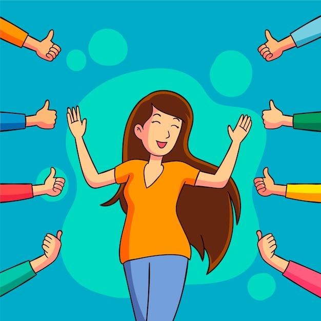 Mujer levantando los pulgares del público vector gratuito