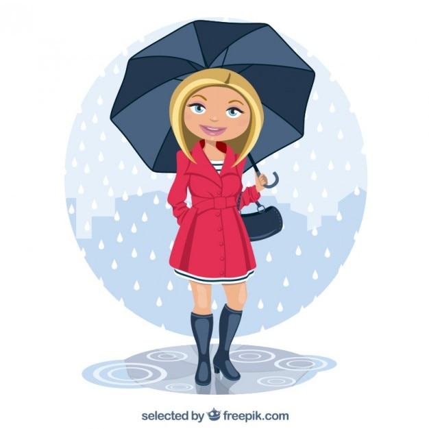 Mujer Bajo La Lluvia Vector Gratis