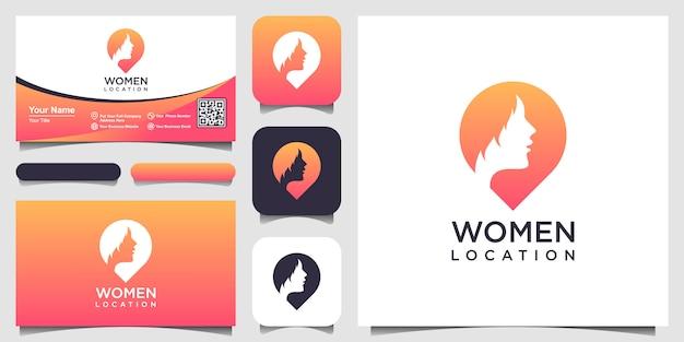 Mujer lugar logo inspiración. plantilla de diseño de logo pin femenino. logotipo de buscador de mujer y diseño de tarjeta de visita Vector Premium