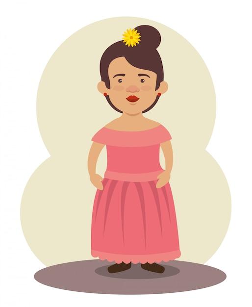 Mujer Mariachi Mexicana Con Peinado Y Vestido Para Evento