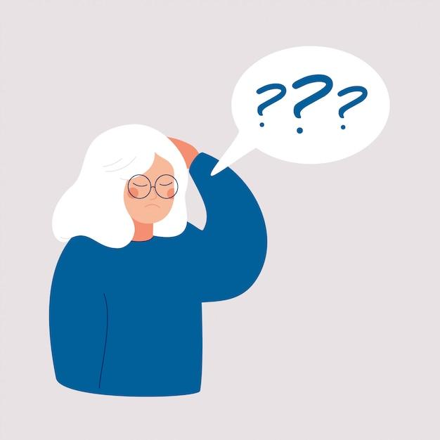 La mujer mayor tiene la enfermedad de alzheimer y una pregunta sobre ella en la burbuja del discurso Vector Premium
