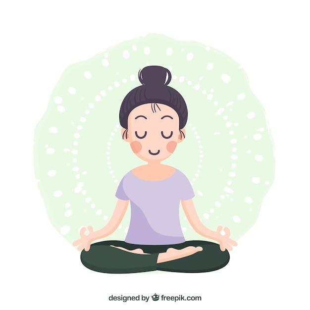Mujer meditando con diseño plano vector gratuito