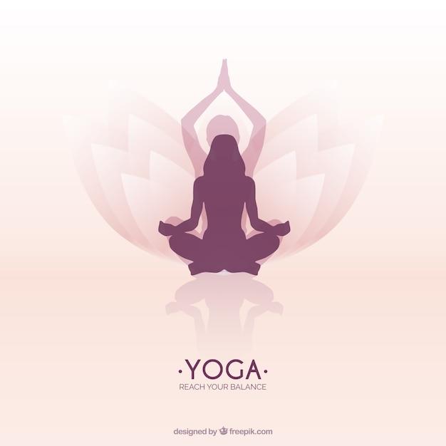 Mujer meditando en posición de flor de loto yoga  2d95d9232a6f