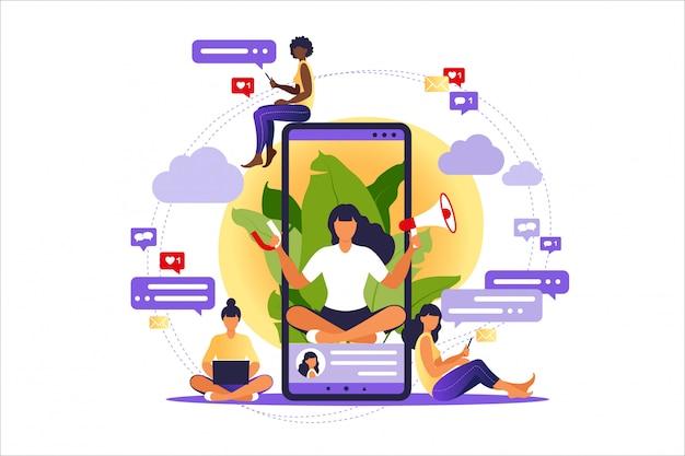 Mujer con megáfono en la pantalla del teléfono móvil y los jóvenes que la rodean Vector Premium