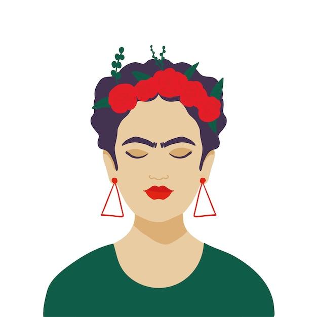 Mujer mexicana con corona de flores en el pelo Vector Premium