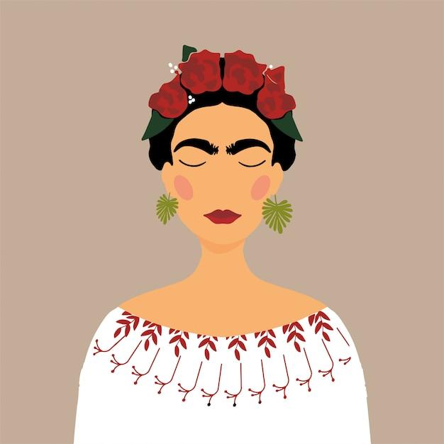 Mujer mexicana de dibujos animados con corona de flores en el pelo Vector Premium