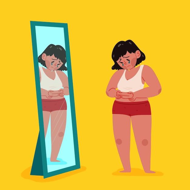 Mujer mirando a sí misma y molesta Vector Premium