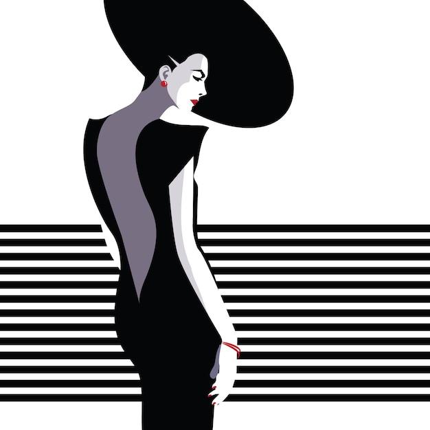 Mujer de moda en estilo pop art. Vector Premium