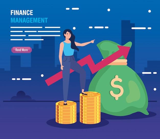 Mujer en montones de monedas con flecha hacia arriba y bolsa de dinero vector gratuito