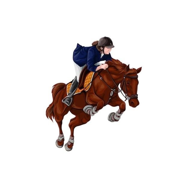 Mujer, muchacha que monta el ejemplo del vector de los caballos, aislado. Vector Premium