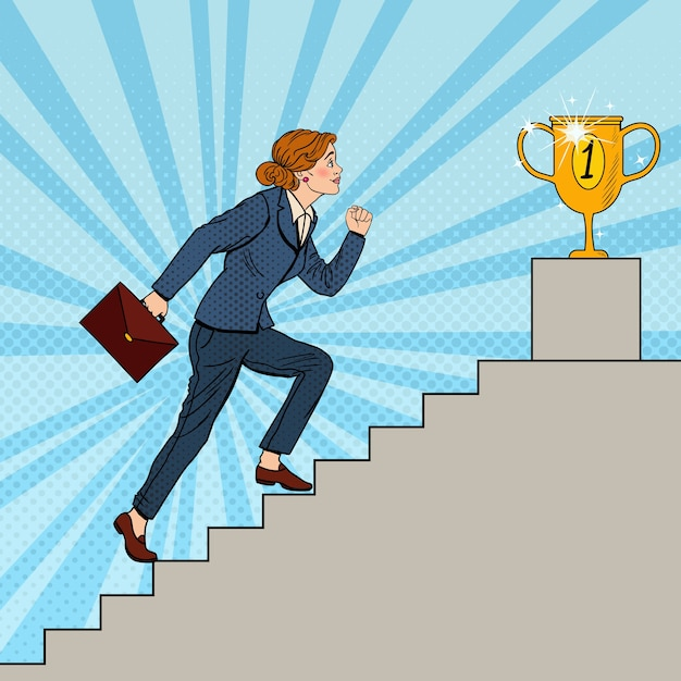 Mujer de negocios de arte pop subiendo escaleras a la copa de oro. Vector Premium
