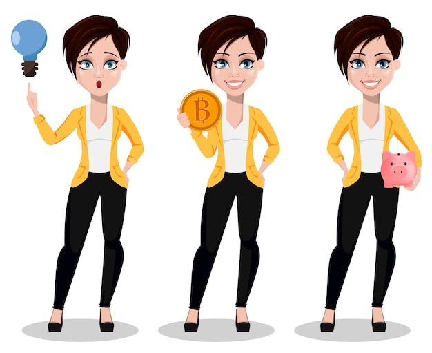 Mujer de negocios, autónomo, banquero Vector Premium