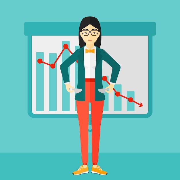 Mujer de negocios de bancrupt. Vector Premium