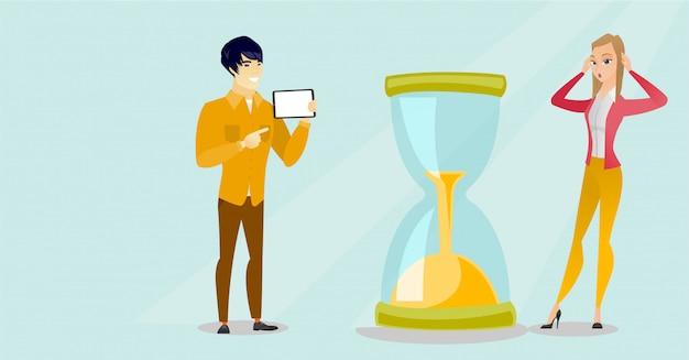 Mujer de negocios desesperada que mira el reloj de arena. Vector Premium