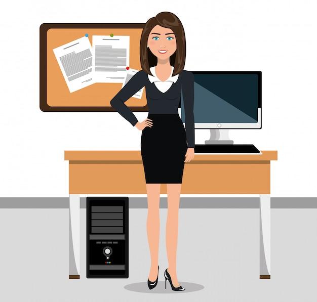 Mujer de negocios en el diseño de icono de espacio de trabajo aislado Vector Premium
