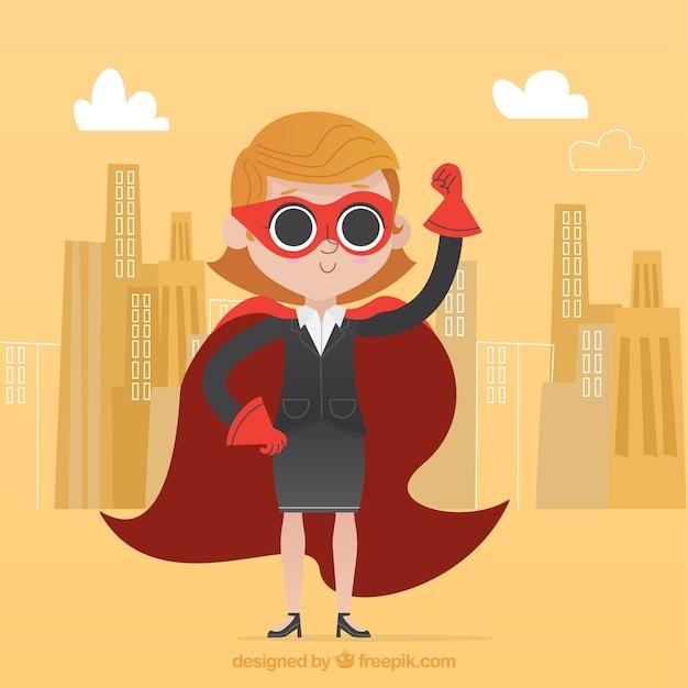 Mujer de negocios exitosa con capa y antifaz vector gratuito