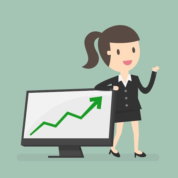 Mujer de negocios con una gráfica vector gratuito