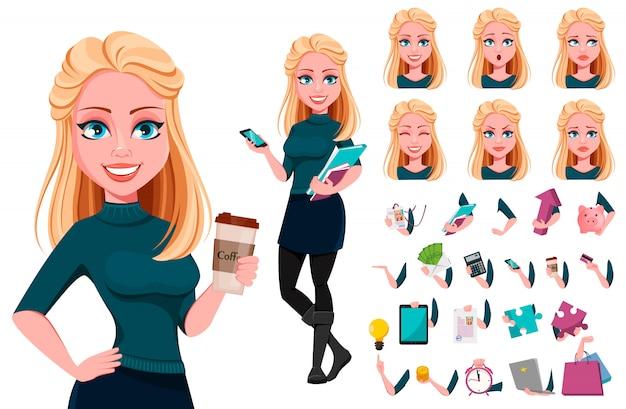 Mujer de negocios hermosa joven Vector Premium