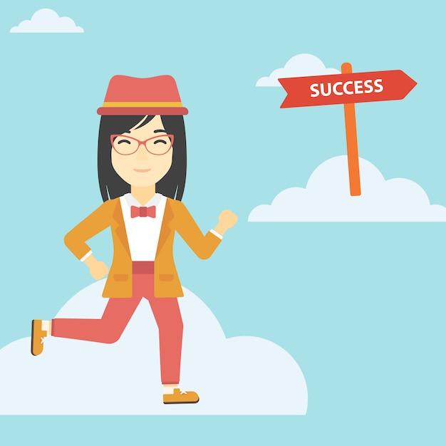 Mujer de negocios en movimiento hacia el éxito. Vector Premium