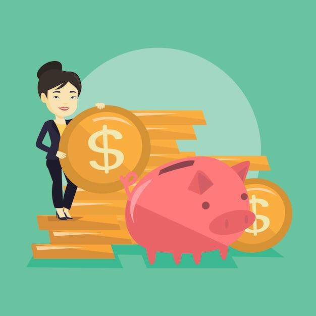 Mujer de negocios poniendo monedas en hucha. Vector Premium
