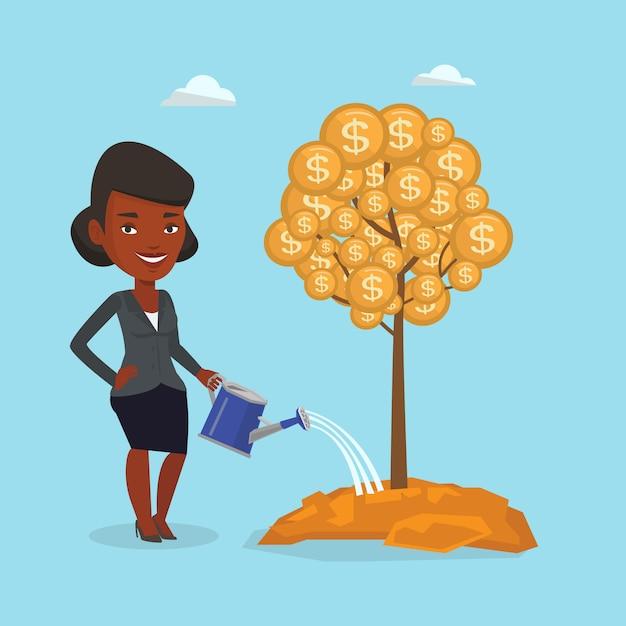 Mujer de negocios que riega el árbol financiero. Vector Premium