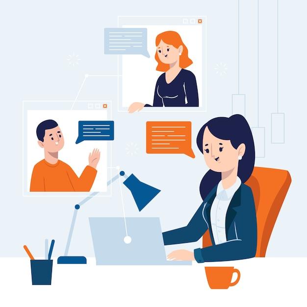 Mujer de negocios que tiene una reunión en línea vector gratuito