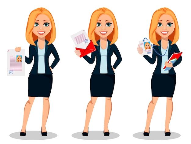 Mujer de negocios en ropa de estilo oficina Vector Premium