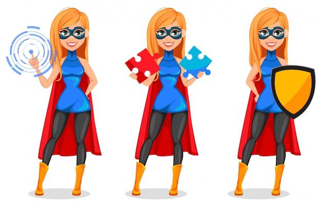 Mujer de negocios superhéroe Vector Premium