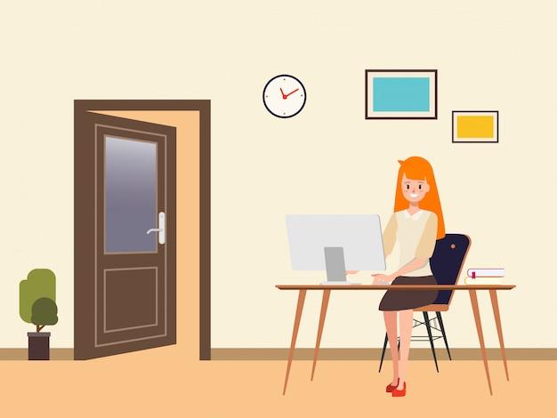 Mujer de negocios trabajando en una computadora portátil. Vector Premium