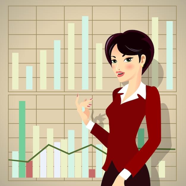 Mujer de negocios en traje corporativo rojo de dibujos animados que presenta el progreso empresarial vector gratuito