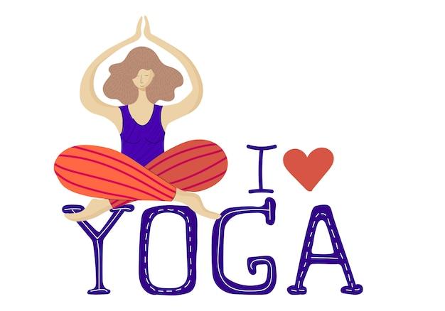 Mujer o niña en posición de loto practicando yoga Vector Premium