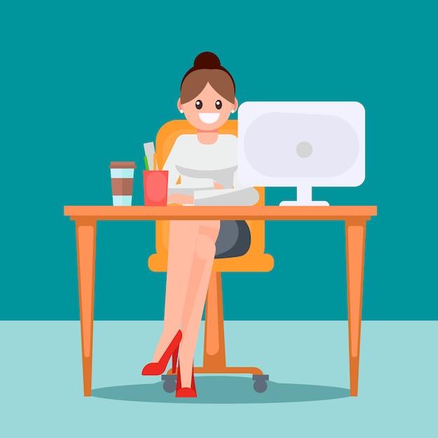 Mujer en la oficina en la mesa vector gratuito