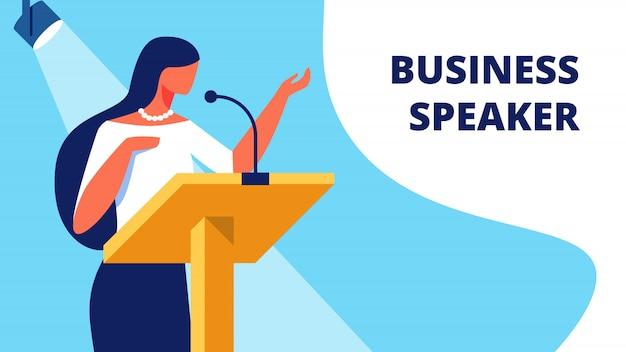 Mujer oradora de negocios en el podio lee el informe. Vector Premium