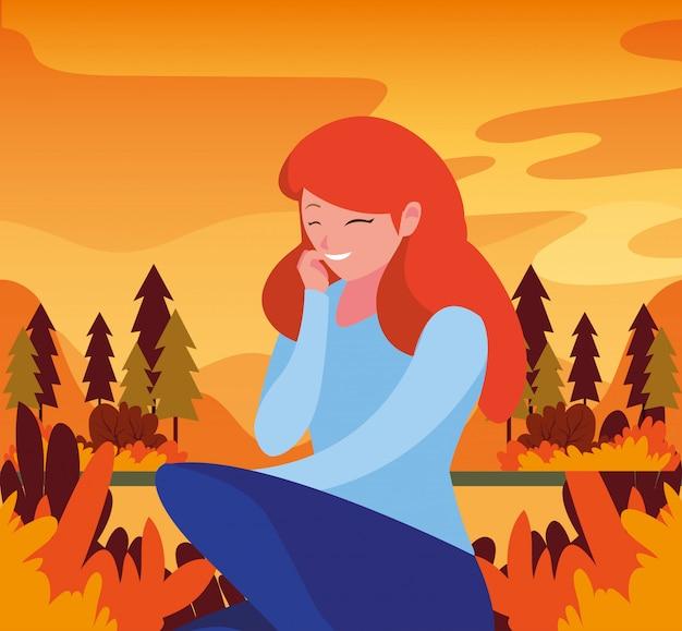Mujer en otoño Vector Premium